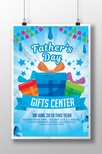 Happy Father's Day Flyer With Assorted Gifts Template PSD