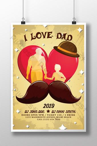 Modèles d'affiche de célébration de la fête des papas rétro avec père et fils main dans la main Modèle PSD