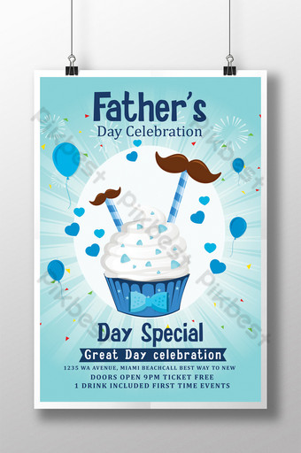 Father's Day Treat Poster Flyer Templates with Ice Cream Template PSD