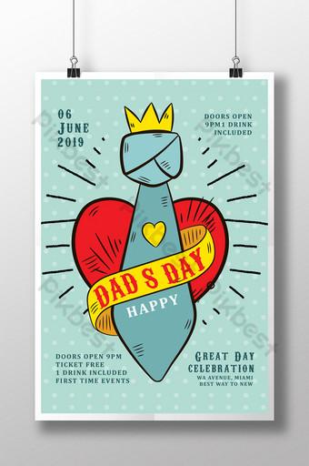 Modèle de Flyer de fête des pères avec cravate et coeur Modèle PSD