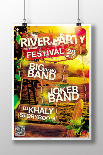 River Party and Festival Celebration in Assorted Colors Template PSD