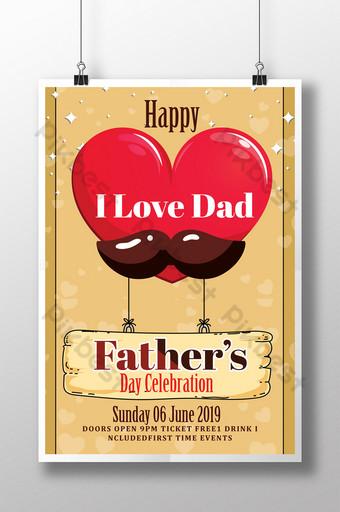 Flyer de jour de papa avec de grands ballons à air chaud en forme de coeur et barbe Modèle PSD