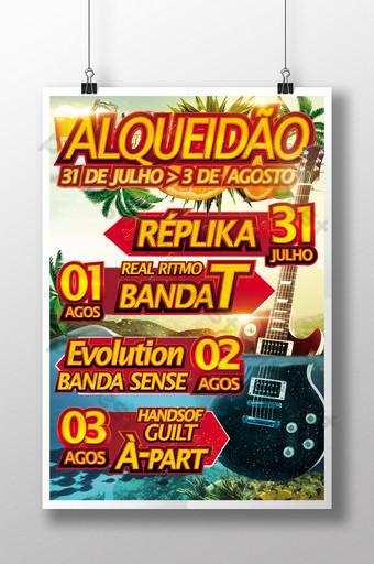 festa de violão e pôster de celebração do festival em cores sortidas Modelo PSD