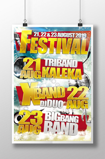Golden Sky Festival with Banners and Glittering Golden Titles Template PSD