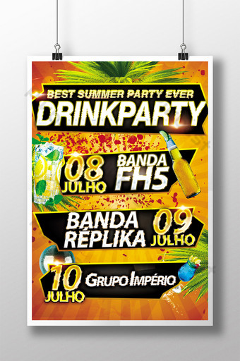 Drink Party Flyer Best Summer Party Ever in Assorted Colors Template PSD