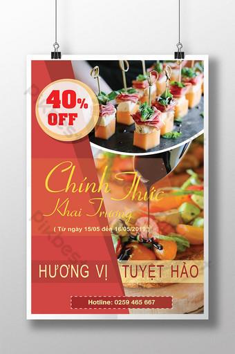 poster món ăn ngon hấp dẫn khai trương cửa hàng thực phẩm giảm giá cực sốc Bản mẫu AI