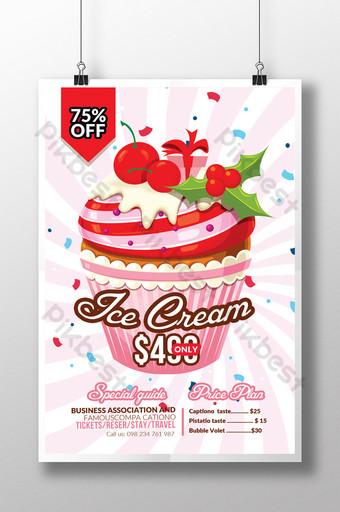 Modèles de flyers d'été de vente de crème glacée avec des cerises Modèle PSD