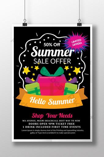 Modèle de Flyer de vente d'été heureux en contraste Modèle PSD