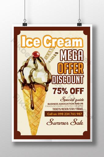 Modèles de flyers d'été de vente de crème glacée vintage Modèle PSD