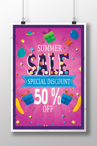 Modèles de flyers d'été à grande vente en rose avec décorations Modèle PSD