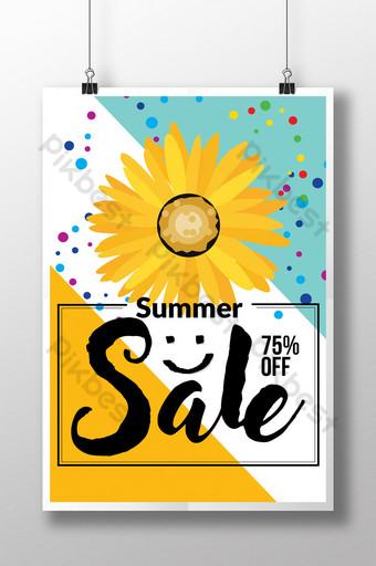 Modèle de Flyer de réduction de vente d'été avec tournesol Modèle PSD