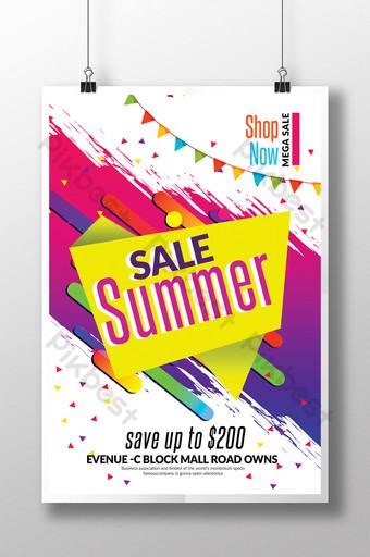 Dernier modèle d'impression de flyer de vente d'été dans un style dynamique Modèle PSD