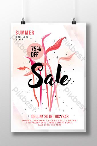 Affiche de flyer de vente d'été florale dans un style simple Modèle PSD