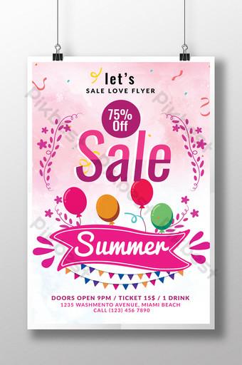 Vente d'été grande offre flyer psd avec ballons et bannière Modèle PSD