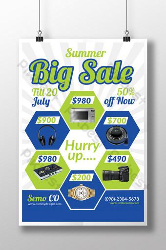 Modèle de Flyer de vente d'étélectronique avec blocs assortis Modèle PSD