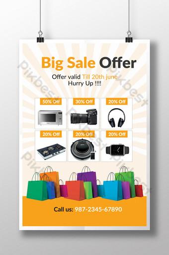 Modèles de flyers d'été pour grandes ventes électroniques en orange Modèle PSD