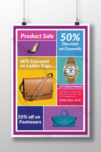 Modèle de Flyer de produit de vente d'été coloré en blocs assortis Modèle PSD