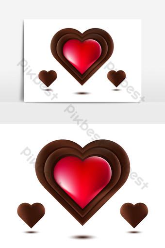 corazón de chocolate corazón de chocolate rojo aislado en la ilustración de vector de fondo blanco Elementos graficos Modelo AI