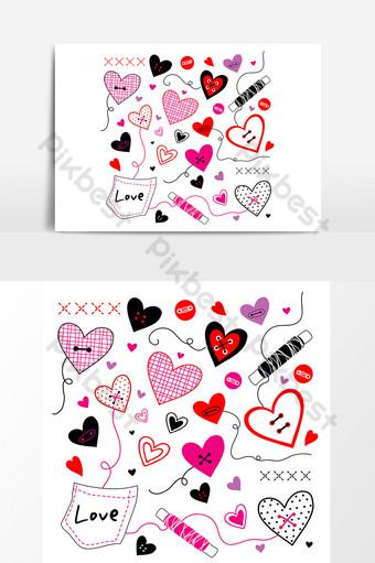 cariño te amo san valentín corazón cepillo lindo vector de dibujos animados Elementos graficos Modelo AI