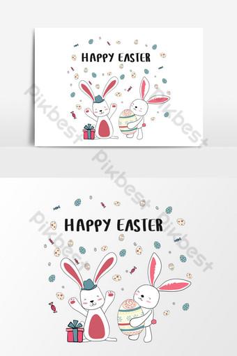heureux deux lapin avec des oeufs mignons carte de joyeuses Pâques Éléments graphiques Modèle AI