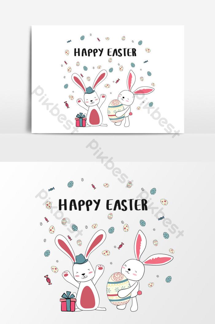 かわいい卵と幸せな2匹のバニー幸せなイースターカード