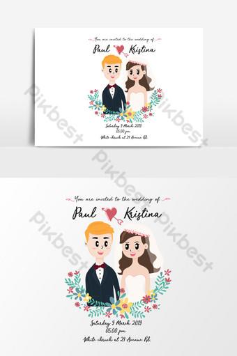 بطاقة زفاف لطيف مع زوجين في إكليل الزهور صور PNG قالب AI