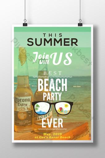 diseño de cartel de fiesta de playa de verano Modelo AI