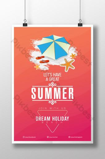 cartel de playa de verano moderno estilista para fiesta veraniega Modelo AI