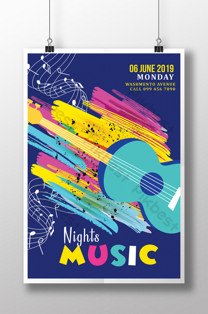 colorful music show flyer templates