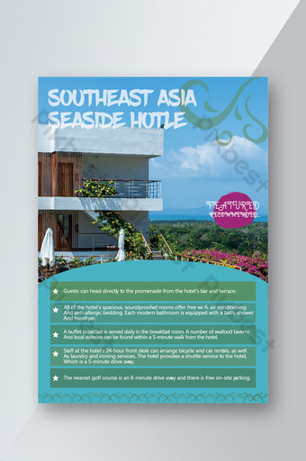 Dépliant de l'hôtel au bord de l'eau en Asie du Sud-Est Modèle AI