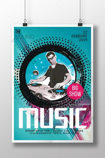 Modèle de Flyer de musique avec système DJ dans un style dynamique Modèle PSD