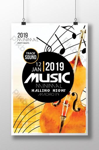 Modèle de Flyer de musique jazz psd en couleur orange Modèle PSD