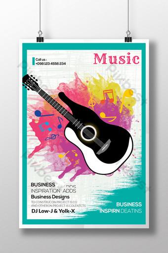 Modèle de Flyer de musique de couleur de l'eau Modèle PSD