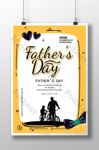 Yellow Cartoon Father's Day Holiday Sale Poster Template PSD