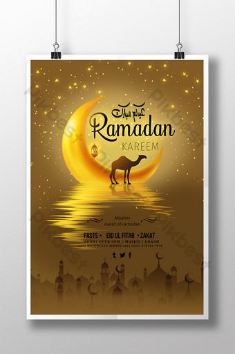 Креативный золотой фон Рамадан плакат шаблон PSD