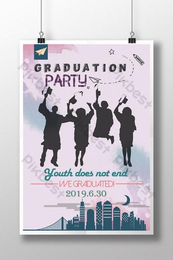 cartel de fiesta de graduación de silueta Modelo PSD