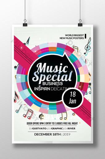 Modèles de flyers colorés spéciaux pour la musique Modèle PSD