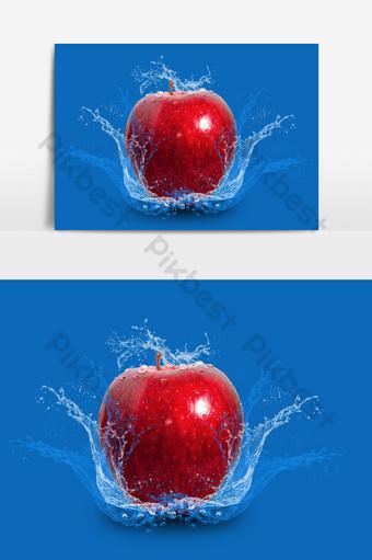 Manzana roja fresca en salpicaduras de agua sobre fondo negro Elementos graficos Modelo PSD
