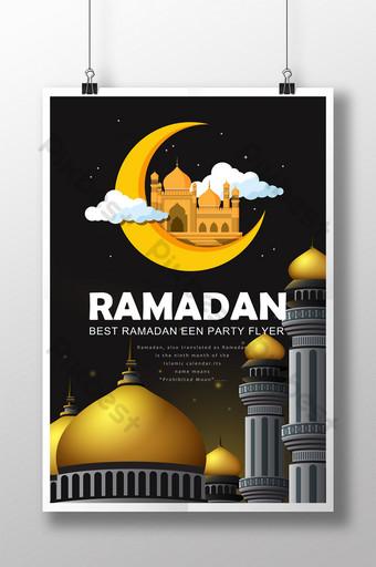 Plantilla de volante psd de Ramadán negro con mezquitas y marco estrellado en plantilla de tema dorado Modelo PSD