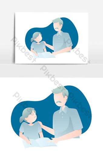 Illustration de la fête des pères avec papa enseignant à sa fille lire un livre Éléments graphiques Modèle PSD
