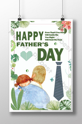Cartoon father's day poster design Template PSD
