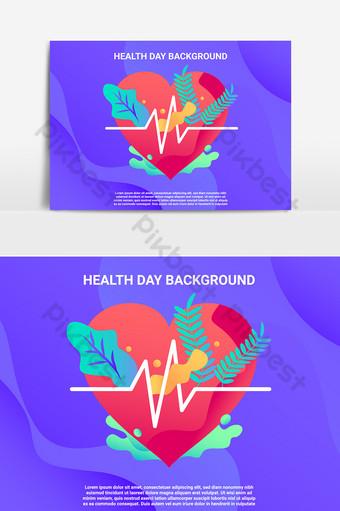 خلفية يوم الصحة مع قلب أحمر كبير وأوراق استوائية صور PNG قالب PSD