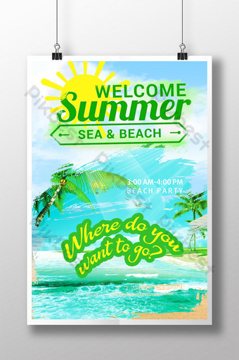 Little Fresh Sunshine Welcome Summer Poster Template PSD
