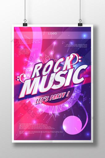 festival de música rock colorido cartel de texto creativo Modelo PSD