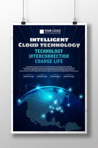 Plakat technologii w stylu niebieskim Szablon PSD