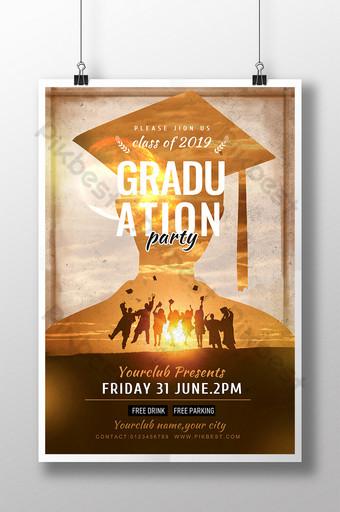 cartel de invitación de celebración de graduación de silueta creativa Modelo PSD