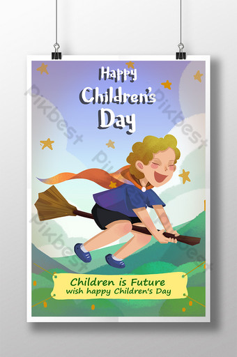 2019 latest illustration International Childrens Day posters Template PSD