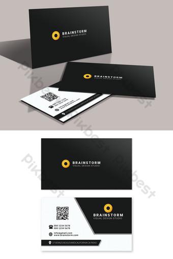 Modèle PSD modifiable de carte de visite d'entreprise noir blanc Modèle PSD