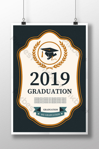 Personality simple graduation season poster design Template PSD