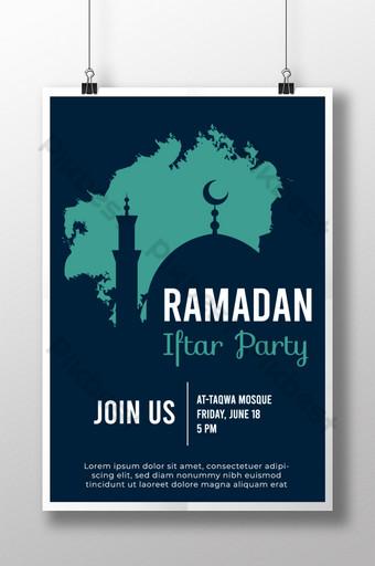 Templat poster pesta buka puasa ramadhan dengan siluet kubah masjid Templat PSD